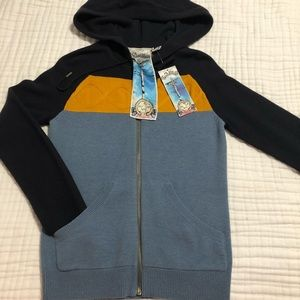L.A.M.B. Cable Cashmere Hoodie Sweater Zipped Up